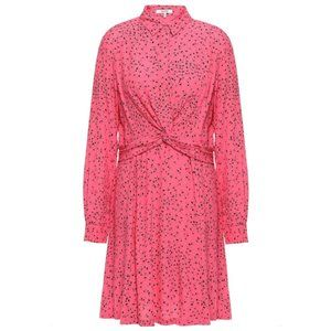 🆕 NWT Ganni Barra Pink Floral Crepe Shirt Dress